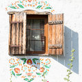 Window in ukrainian house in pirogovo kiev detail of a of a typical antique near Stock Photos