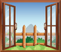 A window with a view of the backyard illustration Royalty Free Stock Photography