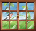 A window with a view of the bird illustration at stem plant Stock Photos