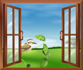 A window with a view of the bird outside illustration Royalty Free Stock Photography