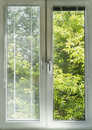 Window view with blinds overlooking green garden Stock Images