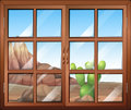 A window with a view of the cactus outside illustration Royalty Free Stock Image