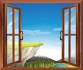 A window with a view of the cliff at the river illustration Stock Photo