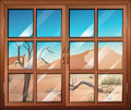 A window with a view of the desert illustration Stock Images