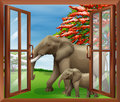 A window with a view of elephants illustration the big and small Royalty Free Stock Photography