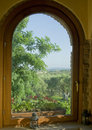 Window view with olive trees Stock Photos