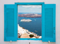 Window with view of Santorini volcano Royalty Free Stock Photo
