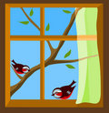 Window with a view to two  birds on spring  branch Royalty Free Stock Image