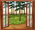 A window with a view of the trees illustration Stock Photography