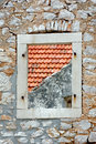 Window on the wall without casements stone Stock Photos