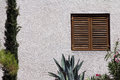 Window with wooden blinds on white wall front outside view of a mediterranean house closed shutters plants and cacti Royalty Free Stock Images