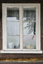 Window in wooden building Royalty Free Stock Photo