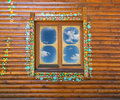 Window on wooden wall Stock Photography