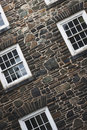Windowed Stone Wall Stock Photo