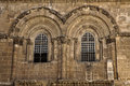 The windows above the entrance to the church of the holy sepulchre in the old city of jerusalem this is the place where jesus Royalty Free Stock Photography