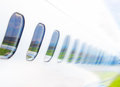 Windows airplane on blue sky Royalty Free Stock Photo