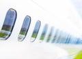 Windows airplane on blue sky Royalty Free Stock Photo
