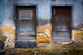 Windows boarded in abandoned area Stock Photos