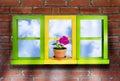Windows Brick Wall Stock Photos