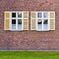 Windows in brick wall old Royalty Free Stock Image