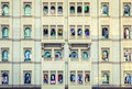 Windows of bur dubai residential house facade in uae Royalty Free Stock Photos