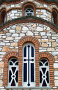 The windows of the church orthodox in olympics in halkidiki photographed a rule symmetry Stock Photo
