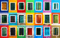 Windows collage grunge of colorful with frames on burano island venice italy Royalty Free Stock Images