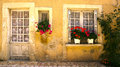 Windows con i fiori Saint Jean de Cole Francia Fotografie Stock