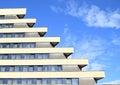 Windows of a hotel pyramida in prague czech republic Stock Photo