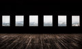Windows large dark room with bright light coming in through Stock Photos