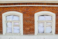 Windows in red brick wall Royalty Free Stock Photo