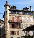 Windows and shutters on half timbered building in figeac france Stock Image