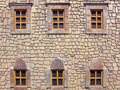 Windows six at medieval style house Stock Images