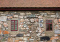 Windows in stone wall architecture background Royalty Free Stock Photos