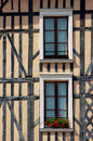 Windows in tenement house the old city of troyes france Stock Photos