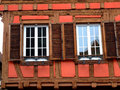 Windows of typical half timbered house in Alsace Stock Images