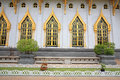 Windows and wall of wat sothon in chachoengsao with garden decoration wararam worawihan the landmark province thailand Royalty Free Stock Images