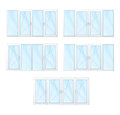 Windows with white frames and blue glass set isolated