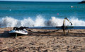 Windsurf Board On The Beach Royalty Free Stock Photo