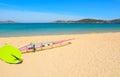 Windsurf board on the sand in Porto Pollo Royalty Free Stock Photo