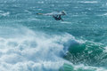 Windsurf wave jump falling man from a Stock Image