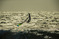 Windsurf wave jump windsurfer jumping a at beach Stock Photo