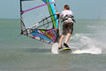 Windsurfer by back single is doing an exercise Royalty Free Stock Photography