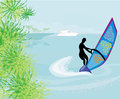 Windsurfer on the wave illustration Stock Photos