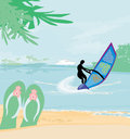 Windsurfer on the wave illustration Royalty Free Stock Photography