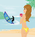 Windsurfer on the wave illustration Stock Image