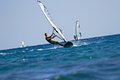 Windsurfers in action Royalty Free Stock Images