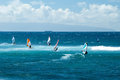 Windsurfers in windy weather on maui island view of the Royalty Free Stock Photos