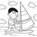 Windsurfing-coloring book Royalty Free Stock Photo