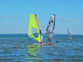 Windsurfing on Plescheevo lake near the town of Pereslavl-Zalessky in Russia. Royalty Free Stock Photo